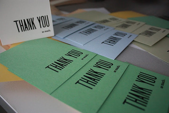 handset type thank you letterpress cards, 1st pull