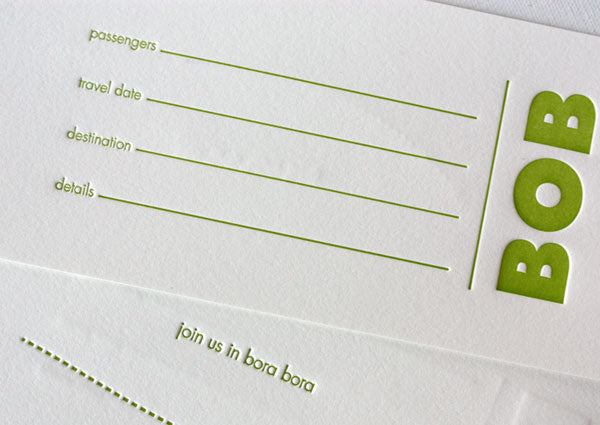 letterpress luggage ticket save the date
