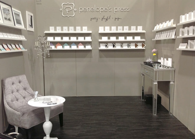 penelope's press tradeshow booth at NSS, national stationery show