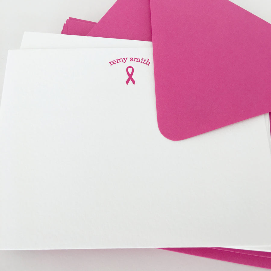 personalized letterpress stationery - breast cancer ribbon