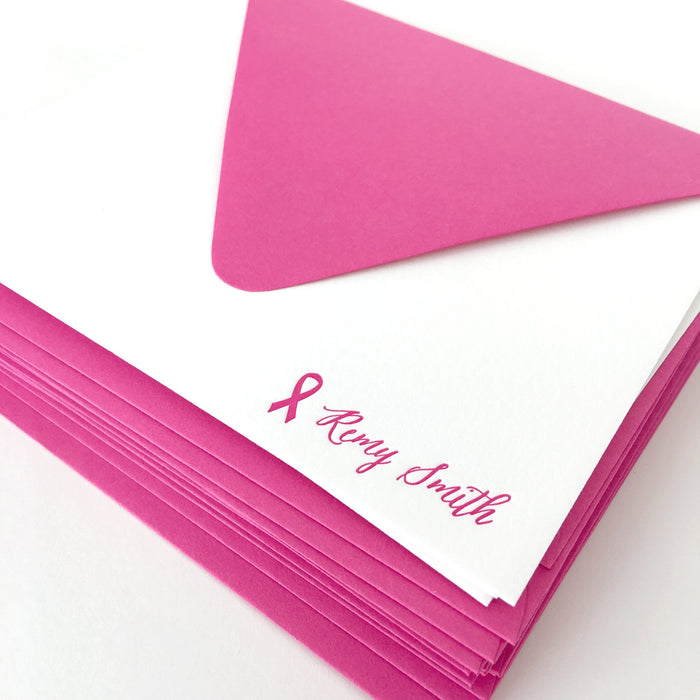personalized letterpress stationery - breast cancer ribbon script