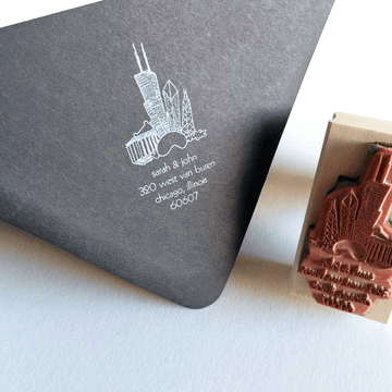 personalized return address stamp -  chicago highlights