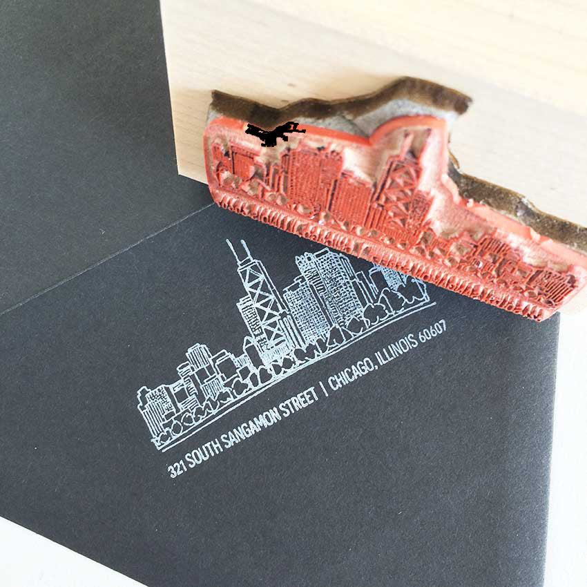 personalized return address stamp -  chicago skyline