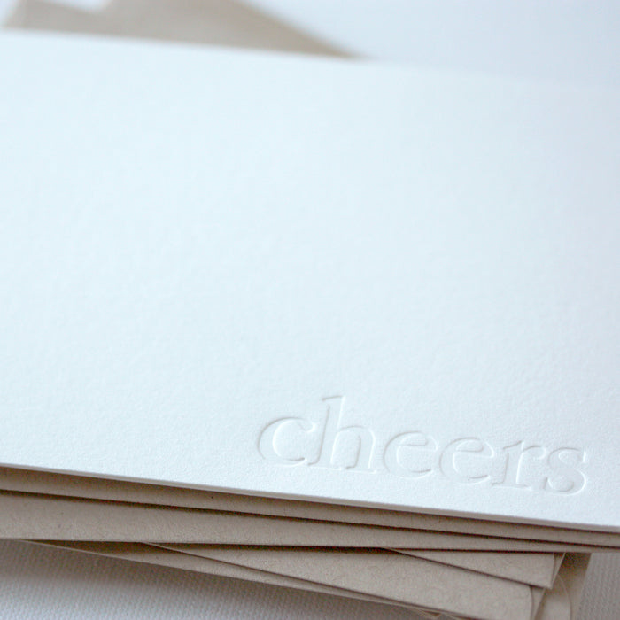 letterpress note cards - blind impression - cheers