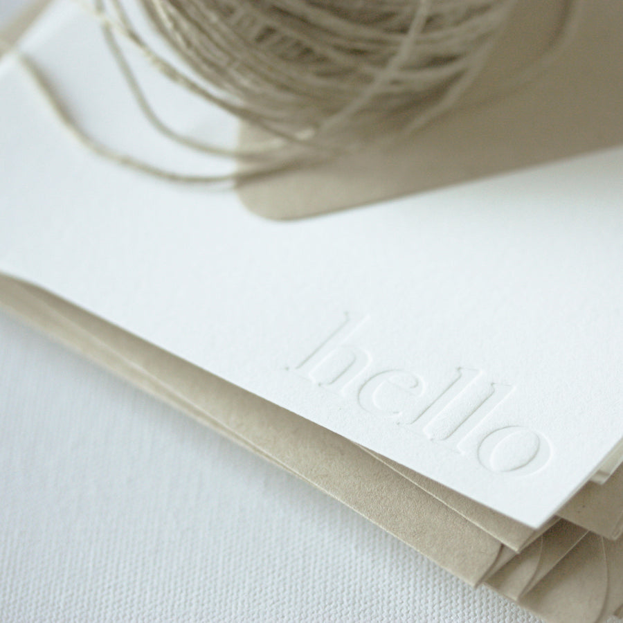 letterpress note cards - blind impression - hello