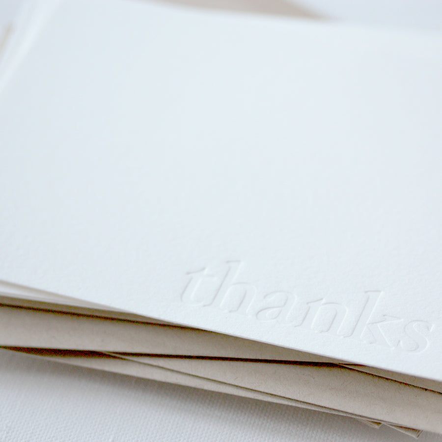 letterpress note cards - blind impression - thanks