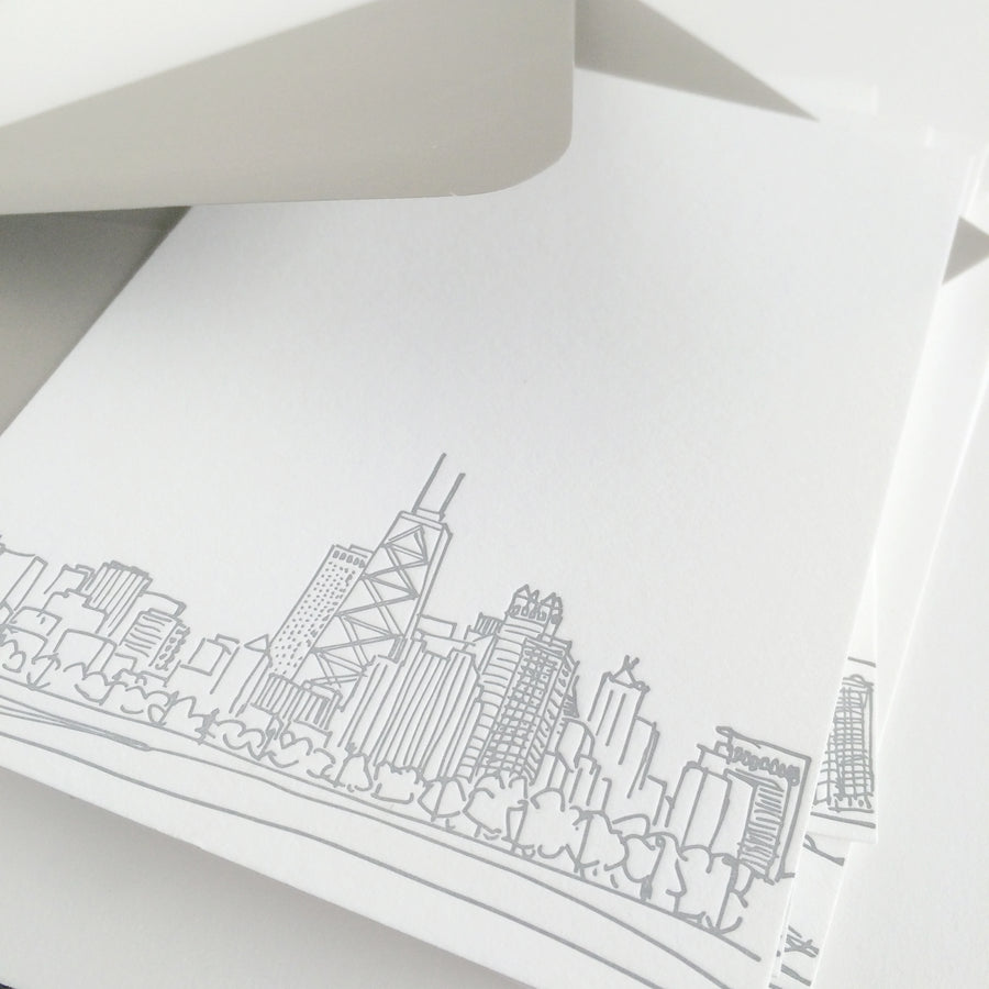 chicago skyline letterpress notecards