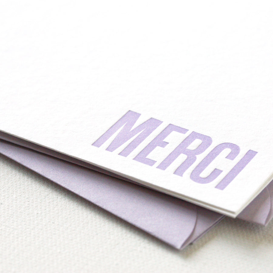 letterpress note cards - merci