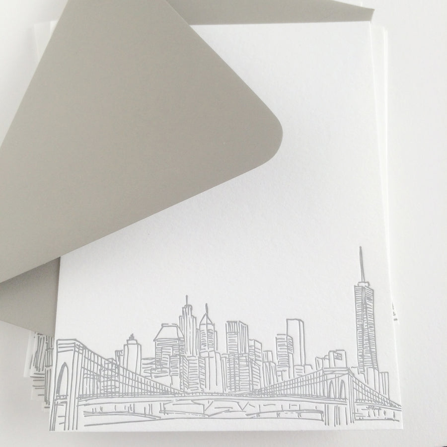 new york city skyline letterpress notecards