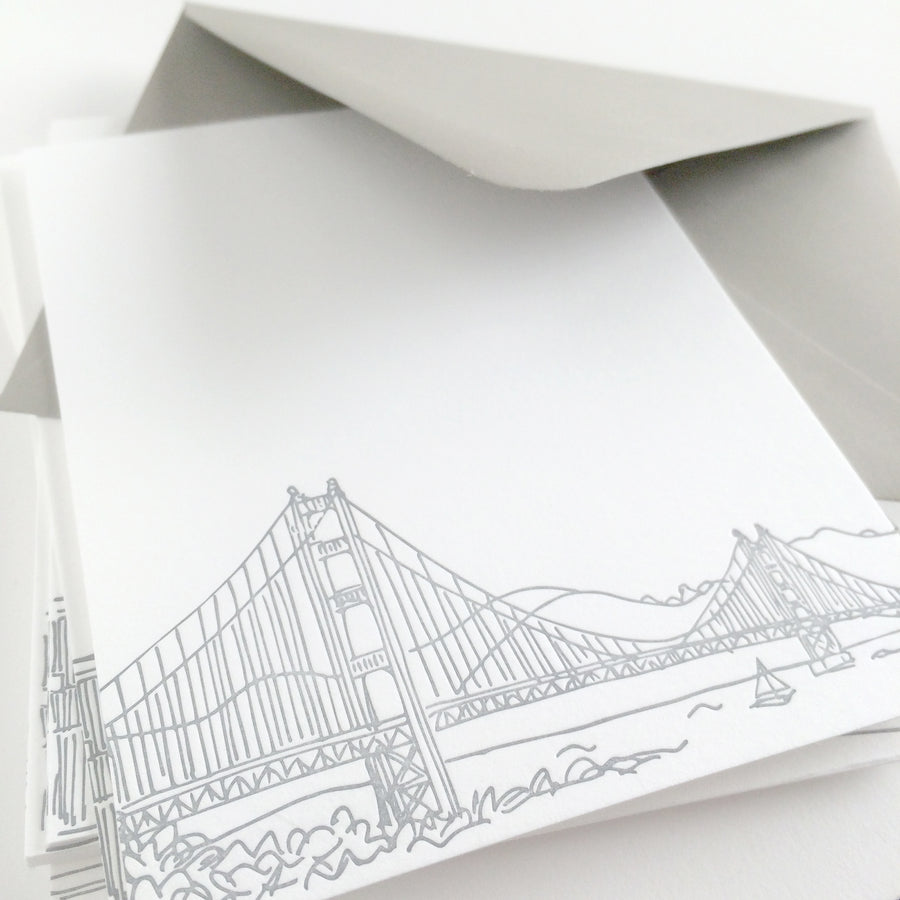 san francisco bridge letterpress notecards