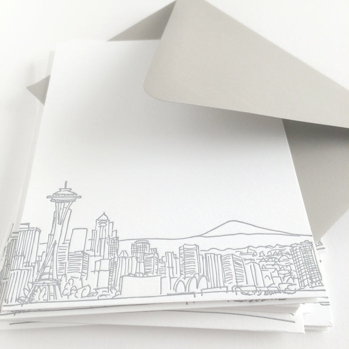 seattle skyline letterpress notecards