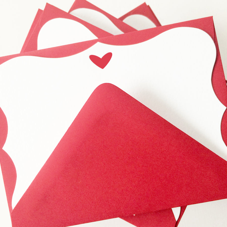 letterpress note cards - die cut red heart