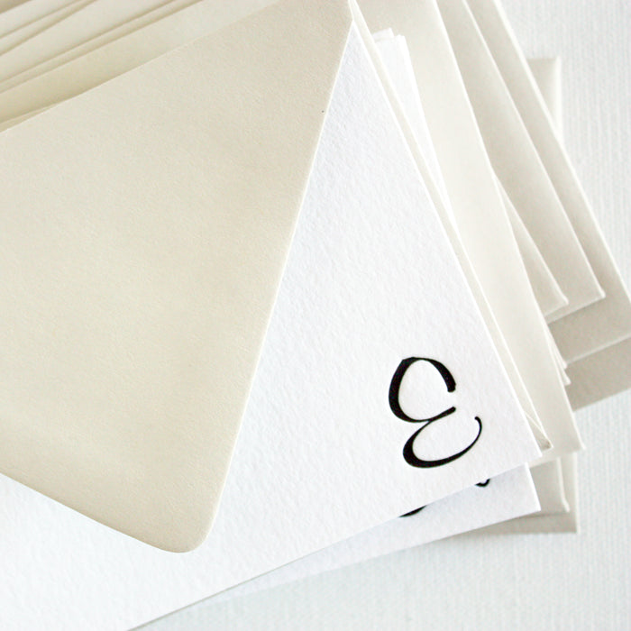 "personalized letterpress stationery ""curvy monogram"""