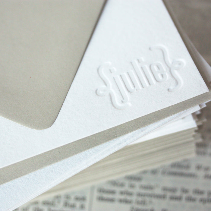 "personalized letterpress stationery ""julie"""
