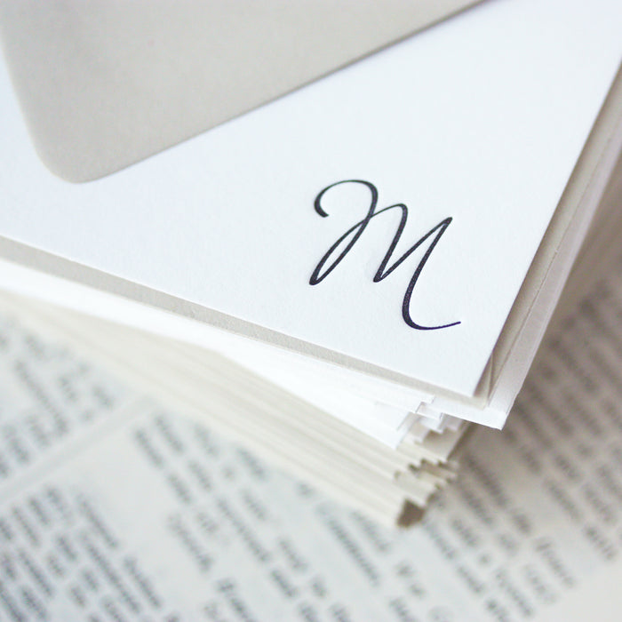 "personalized letterpress stationery ""monogram script"""