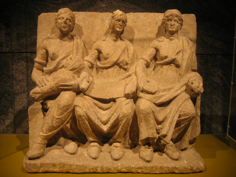 ic:Terracotta relief of the Matres, from Bibracte, city of the Aedui in Gaul.