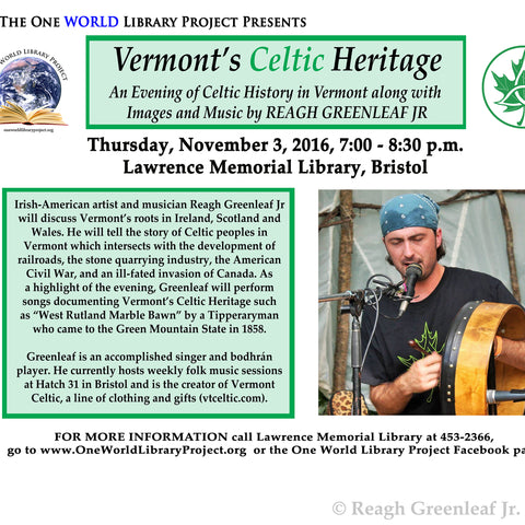 Vermont's Celtic Heritage library presentation poster