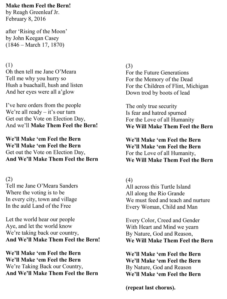 Irish Bernie Song lyrics by Reagh Greenleaf Jr.