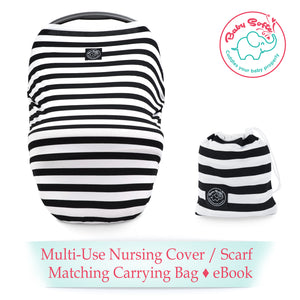 Multi-Use Baby White and Black Nursing Cover