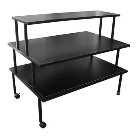 3-Tier Rolling Display Table Rack - Black