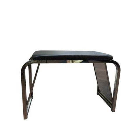 "DELUXE SHOE BENCH 30"" LONG X 14 1/2"" WIDE X 19"" HIGH BLACK PADDED SEAT AND 2 ACRYLIC MIRRORS"