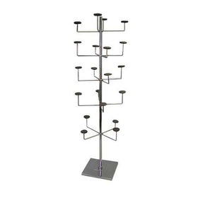 "Hat Display 5 Tier Single Upright 15"" x 15""  Square Base With Foam Pads - Chrome"