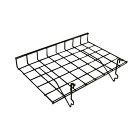 black 15 x 24 grid slatwall shelf with lip