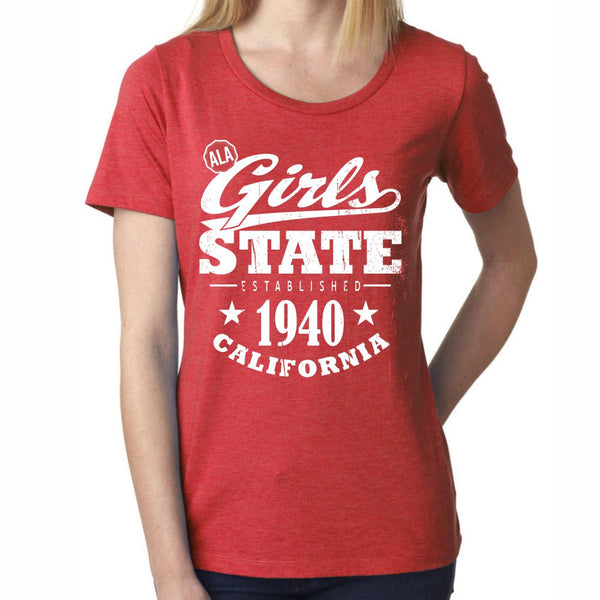 Girls State 'Established 1940' Heathered Red Lady's Scoop Neck Tee
