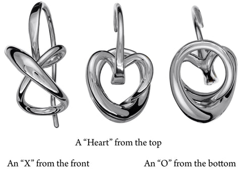 "Secret Heart Earrings- A ""Heart"" from the top, an ""X"" fromthe front, an ""O"" from the bottom."