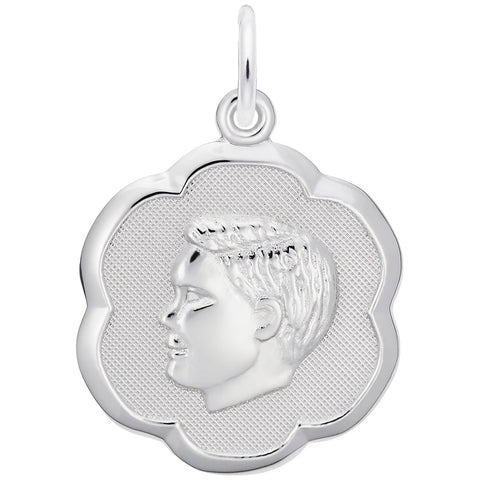 Scalloped Boy Head, Engravable