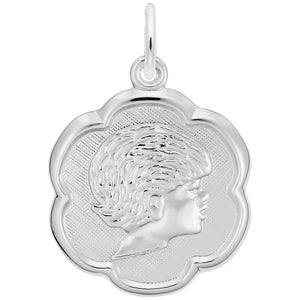Rembrandt Charms, Scalloped Girl Head, Engravable