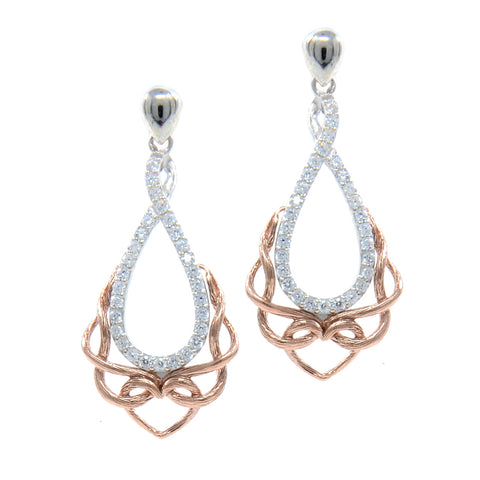 Love's Chalice CZ Earrings, Sterling Silver & 10k Rose Gold
