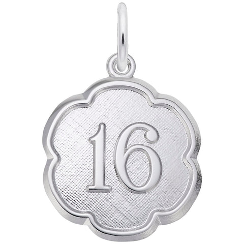 Rembrandt Charms, Scalloped Custom Number Charm, Engravable