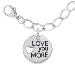 Rembrandt Charms, Love You More Sterling Silver Bracelet Set, Engravable