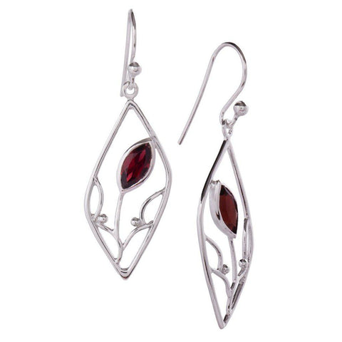 Seedling Earrings, Garnet