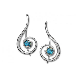 Lyrical Blue Topaz or Garnet Earrings, Sterling Silver