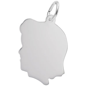 Rembrandt Charms, Girl Silhouette, Large, Engravable