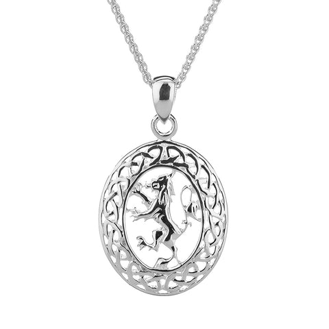 Oval Lion Rampant Necklace, Sterling Silver