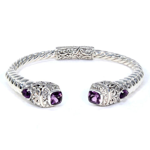 Filigree Blooming Bali Garden Hinged Bracelet, 925 Sterling Silver