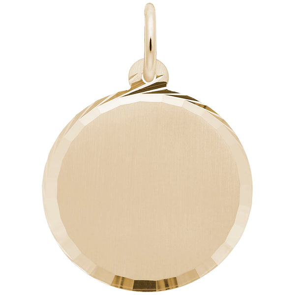 Rembrandt Charms, 19mm Diamond Faceted Disc, Engravable