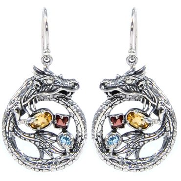 Bali Dragon Mother Earrings, 925 Sterling Silver, Citrine, Garnet & Blue Topaz