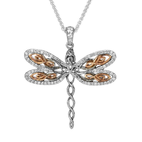 Dragonfly Large Pendant Necklace, Sterling Silver & 10k Rose Gold