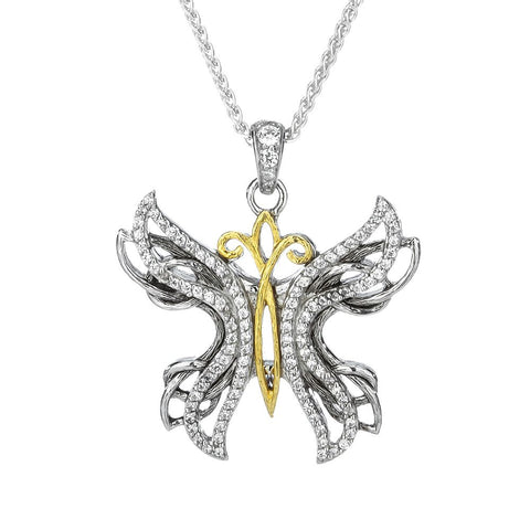 Butterfly Pendant Necklace, Sterling Silver & 10k Gold