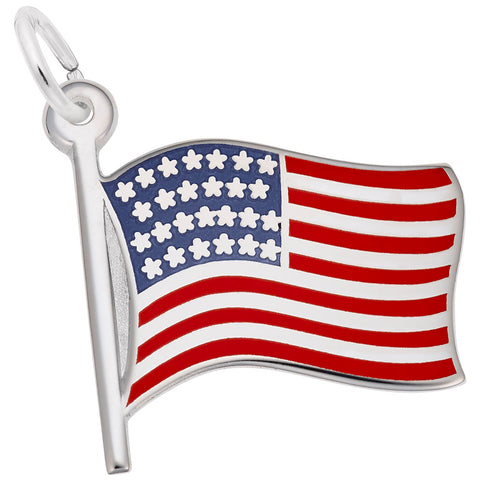 Rembrandt Charms, USA Flag, Engravable