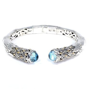 Flowering Bamboo Hinged Cuff Bracelet, 925 Sterling Silver & 18k Gold, Blue Topaz