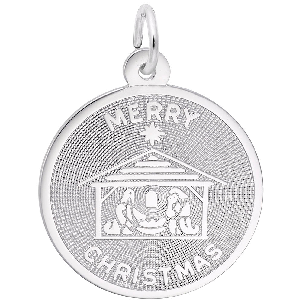 Rembrandt Charms, Merry Christmas Nativity, Engravable