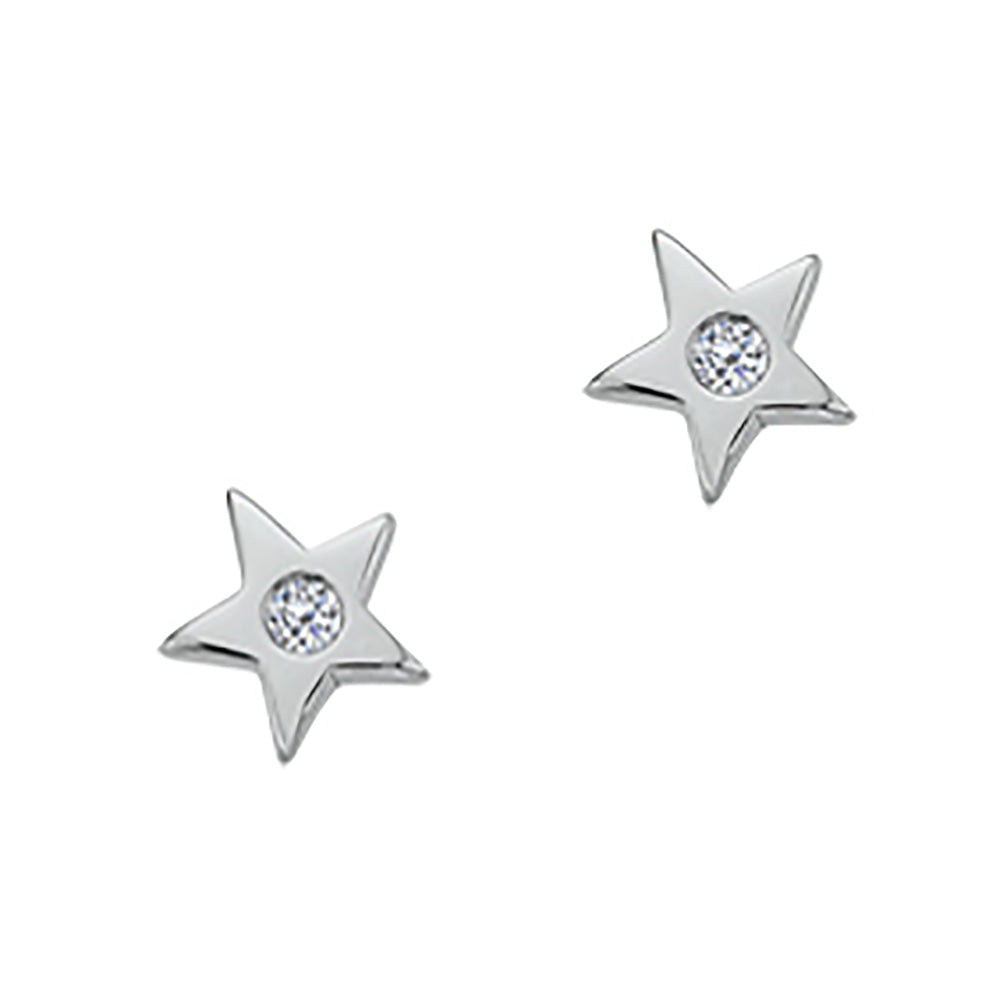 Twinkle Star Diamond Earrings, Sterling Silver