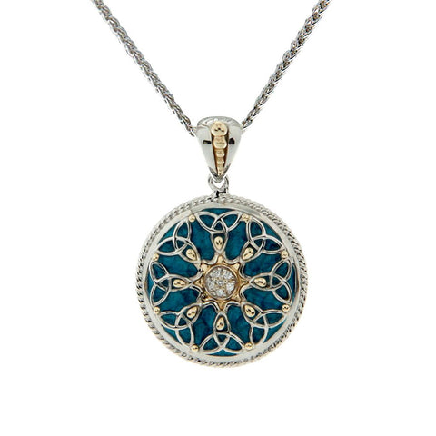 Blue Enamel Trinity Knot Necklace, Sterling Silver & 10k Gold