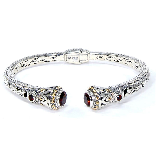 Filigree Bloom Hinged Cuff Bracelet, 925 Sterling Silver & 18k Gold