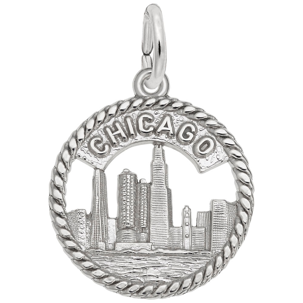 Rembrandt Charms, Chicago Skyline, Engravable